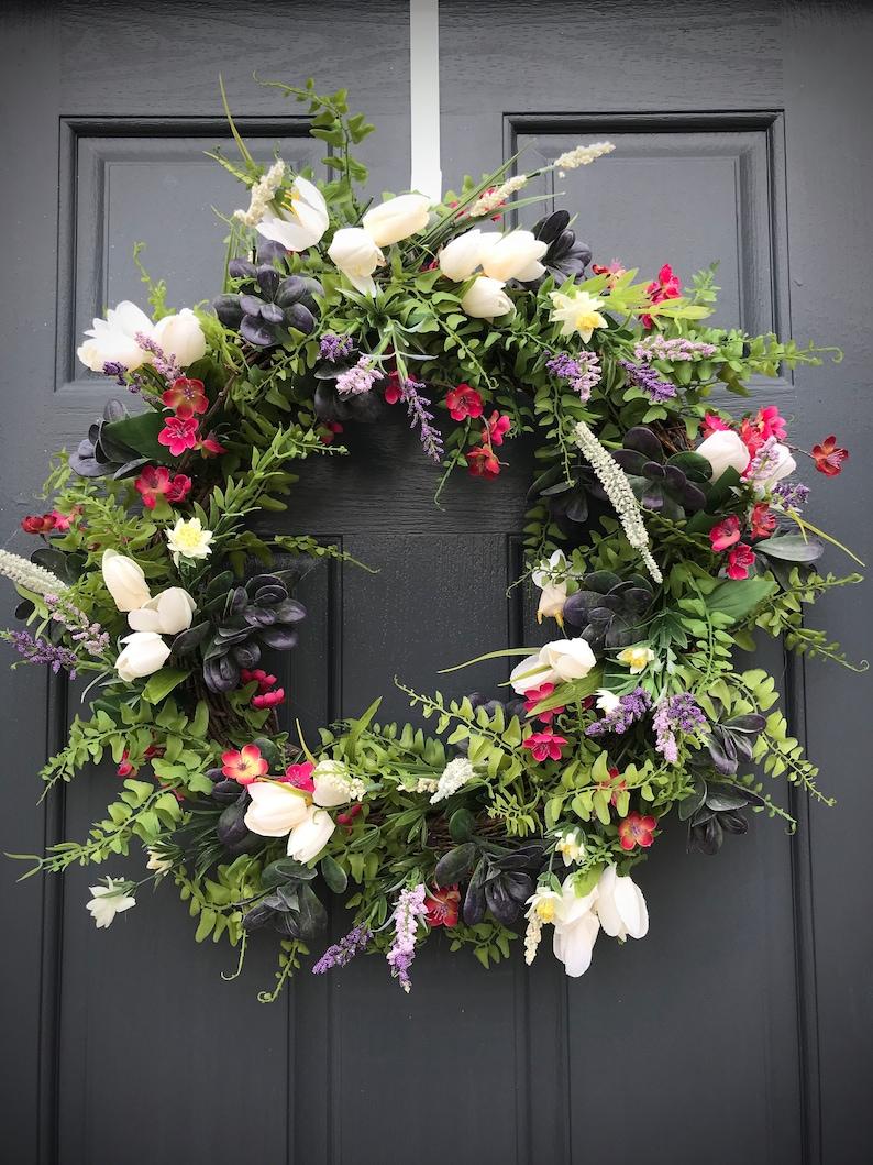 Spring Wreath Tulip Wreath Purple Pink White Door Wreath Fern image 0