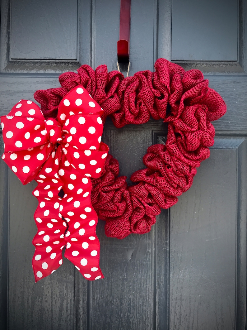 Red Heart Wreaths Heart Door Decor Red Heart Gifts Gift for image 0