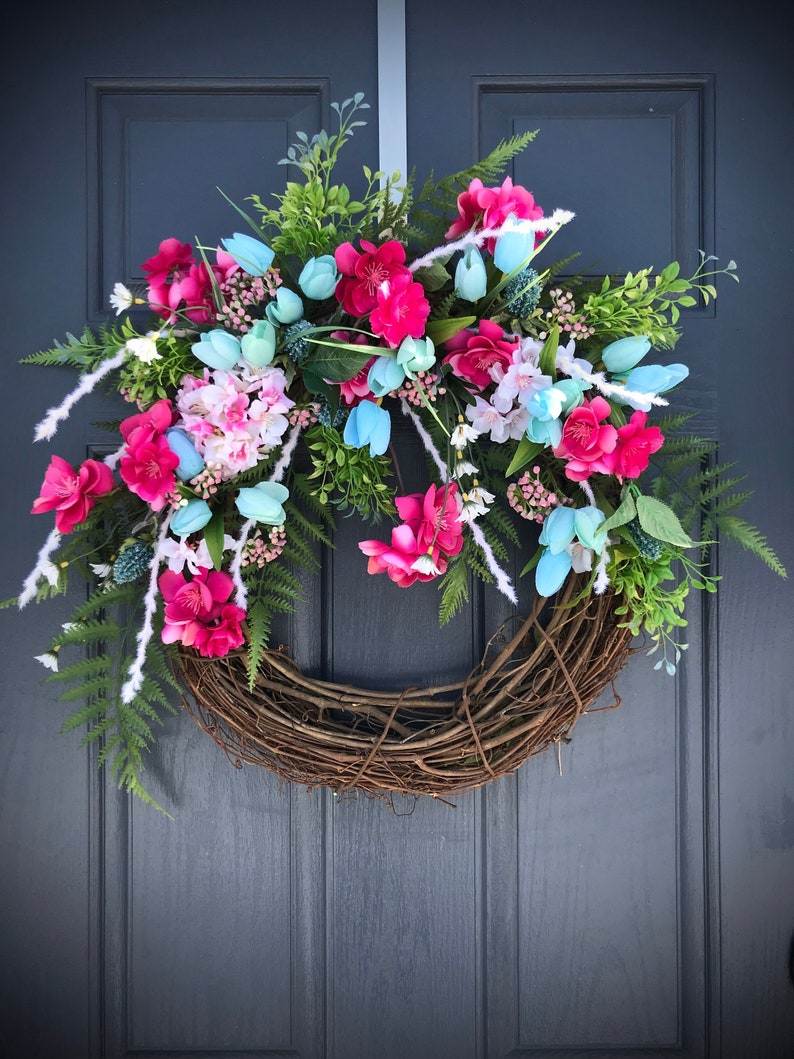 Spring Door Wreath Spring Wreaths Pink Blue Wreaths Pink image 0