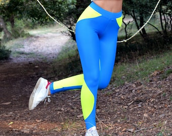 e8d77e1735 Women Leggings, Blue Neon Yellow Leggings, Workout Leggings, Gym Clothes,  Stretch Leggings, Yoga Leggings, Spandex Pants, Fitness Leggings