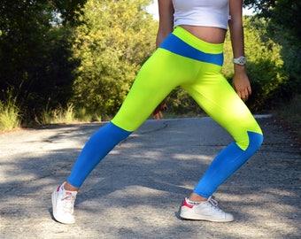 fe866f1dce Blue Neon Yellow Leggings, Women Leggings, Gym Clothing, Stretch Leggings,  Workout Pants, Yoga Leggings, Athletic Pants, Yoga Pants, Pilates