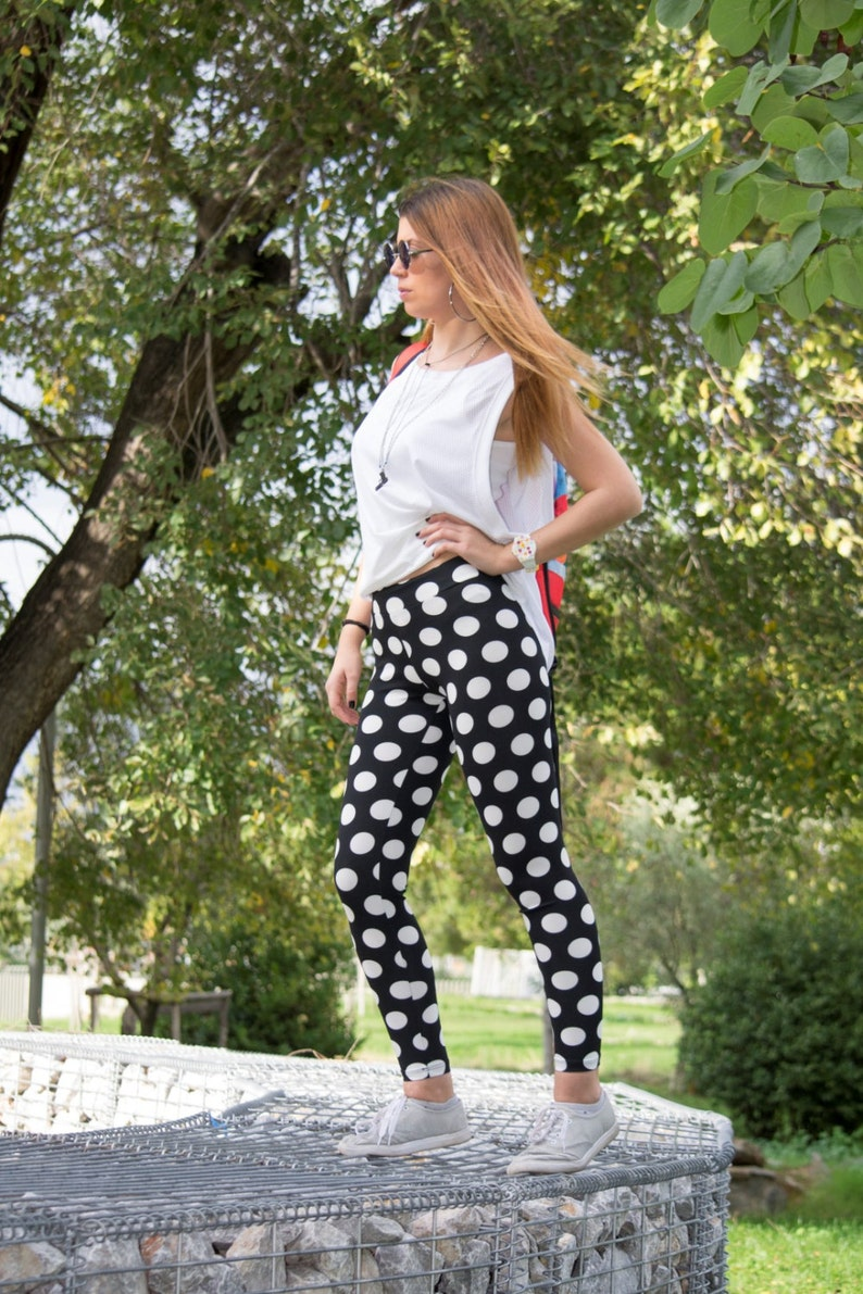 5fd6982051c5c Polka Dot Leggings Printed Leggings Black White Leggings | Etsy