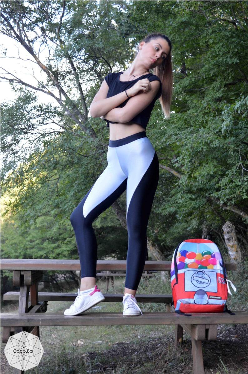 9eb81fd4939ff Black Light Blue Leggings Gym Leggings Sport Pants Stretch
