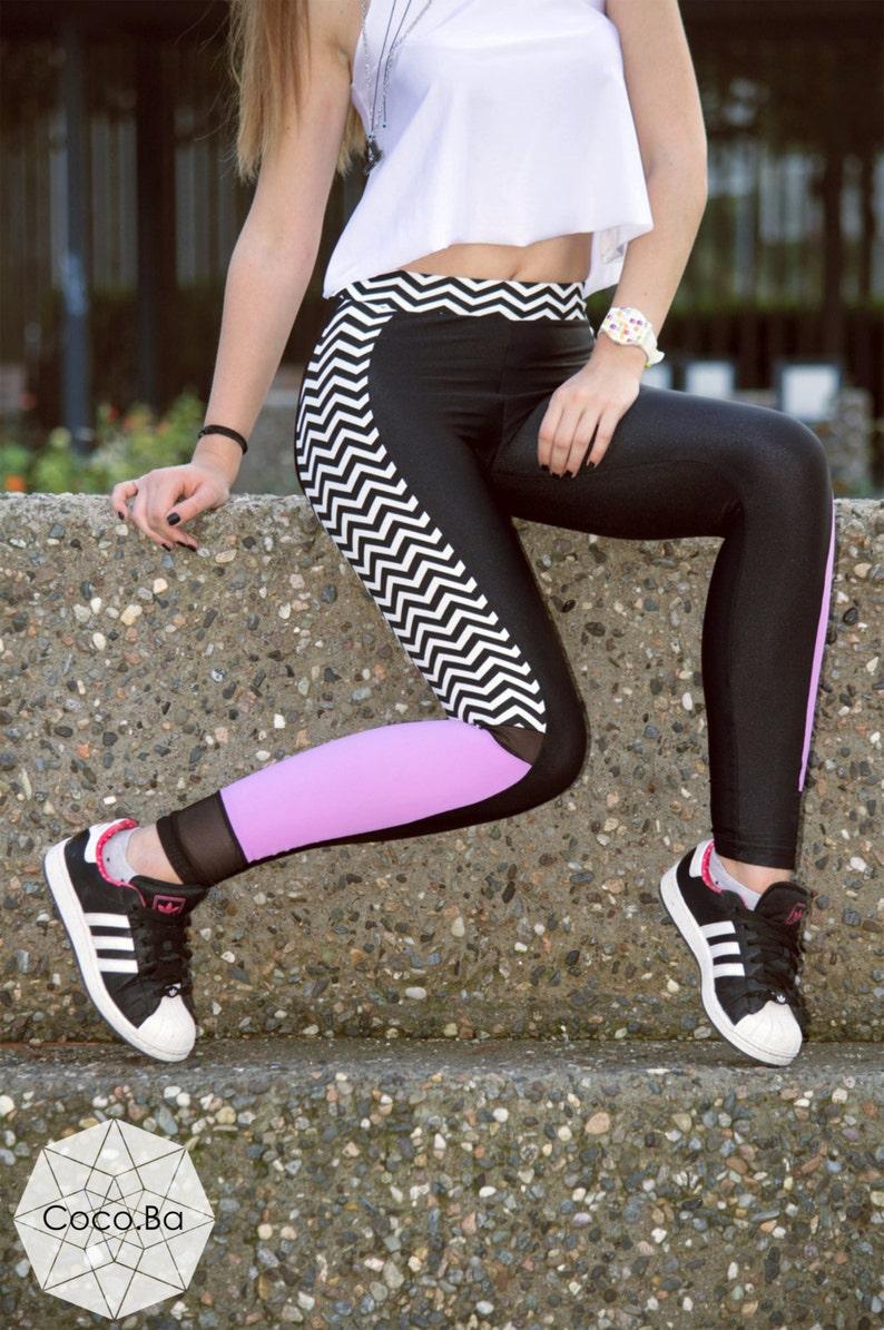 6935605f4a Printed Leggings Black White Stripes Pink Leggings Women | Etsy