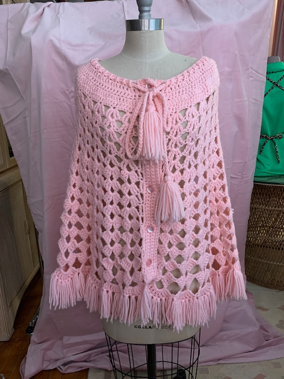 Vintage Crocheted Pink Button-up Shawl Poncho with Pom Pom Tassels