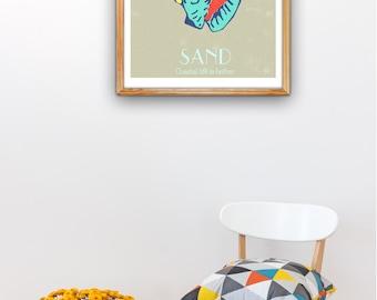 Sea Shell Sand Pop Art - Sea shell Wall decor A3 poster-sea life print- A3 size  Nautical design, Decor beach house SAS216A3P