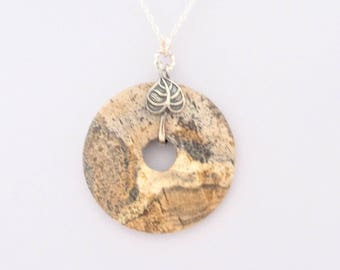 Natural Jasper round donut necklace, Unique earth shade necklace, Semi-Precious Gemstone Pendant on Sterling Silver 925, Natural Gemstone