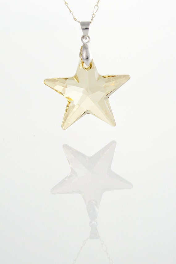 Pendentif étoile dorée de cristal Swarovski sur argent | Etsy
