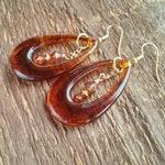 Dangle Earrings, Amber Earrings, Faux Tortoise Shell Earrings, Teardrop Earrings, Lightweight Earrings, Long Earrings