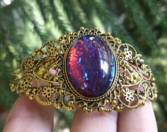 Filigree Cuff Bracelet, Cuff Bracelet, 18 x 25mm Cabachon Bracelet, Boho Bracelet, Bohemian Jewelry