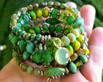 Wrap Bracelet, Beaded Bracelet, Bohemian Jewelry, Green Bracelet, Memory Bracelet, Pink Bracelet, Boho Bracelet, Layering Bracelet