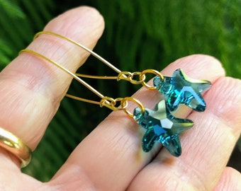 Starfish Earrings, Crystal Earrings, Dangle Earrings, Beach Vibes, Ocean Colors Earrings, Summer colors, Bohemian Jewelry