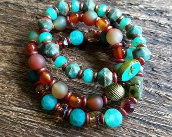Stackable stretch bracelet set, Fall Colors layering bracelets, Set of three beaded bracelets