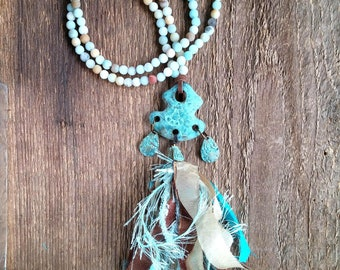 Tassel Necklace, Amazonite Necklace, Long Necklace, Bohemian Jewelry,  Boho Necklace, Ribbon Tassel
