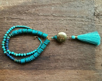 Tassel Necklace, Layering Necklace,  Blue Beaded Necklace, Long Necklace,  Bohemian Jewelry,Boho Jewelry