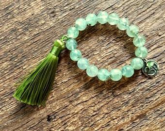 Tassel Bracelet, Prehinite Bracelet, Ohm Bracelet, Charm Bracelet, Stretch Bracelet, Layering Bracelet, Bohemian Jewelry