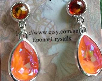Crystal Earrings, Dangle Earrings, Orange Crystal Earrings,  Summer Colors Earrings, Bohemian Jewelry