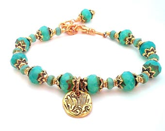 Turquoise Bracelet, Beaded Bracelet, Charm Bracelet, Bohemian Jewelry, Summer Bracelet, Layering Bracelet, Christmas gift