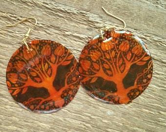 Tree of Life Earrings, Hippie, Gypsy, Bohemian Jewelry, dangle earrings, shell earrings, boho earrings