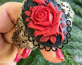 Red Rose Cameo Bracelet, Handmade Bracelet, Cameo Bracelet, Bohemian Jewelry, Victorian Gothic Jewelry