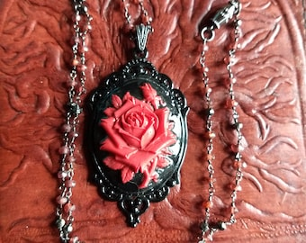 Gothic Rose Pendant Necklace, Vintage Style Necklace, Handmade Necklace, Pendant Necklace, Bohemian Jewelry