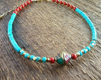 Choker Necklace, Turquoise Necklace, Beaded Choker, Short Necklace, Bohemian Jewelry, Boho Jewelry