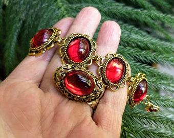 Ruby Gems Bracelet, Link Bracelet, Glass Gems Bracelet, Gold Bracelet, Red Bracelet, Bohemian Jewelry