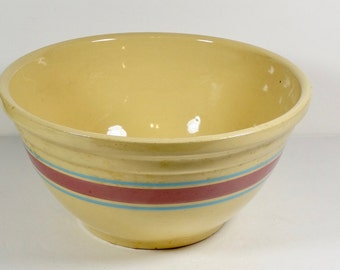 Huge McCoy Stonecraft Pink and Blue Stripe Mixing Bowl - Bread Bowl - Vintage McCoy Oven Ware USA - Striped Bowl