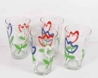 Rare Vintage Tulip Glasses Libbey Red White Blue 1970s Tumblers - Set of 4