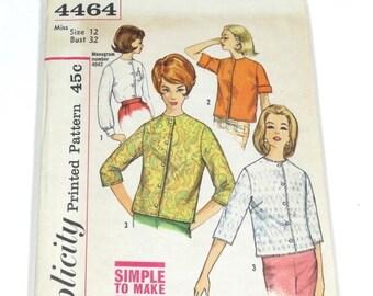 0dfe21b9c0c094 60s Blouse Pattern- Simplicity 4464 - Size 12 - Vintage 1960s Blouse Pattern