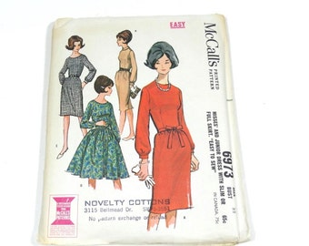 60s Dress with Slim or Full Skirt - McCalls 6973 - 1963 Pattern - Size 12 - 1960s Dress Pattern