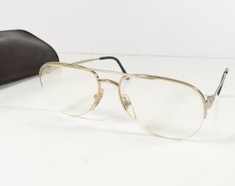 87ef7675109 Vintage 70s Marcolin Eyeglass Frames in Case Gold Aviator Glasses Frames  Italy
