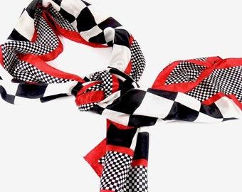 Vintage Silk Scarf Red Black White Long Rectangular UGA Checkered Flag  Georgia Bulldogs Red and Black bd39f6270359