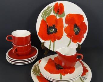 Vera for Mikasa Poppy - Dinnerware Set - Ladybug - 13 Pieces Sold Inidually F7101 MIKPOP Red Poppies Vera Neumann Plates & Vera neumann | Etsy
