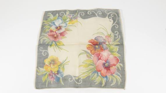 Vintage Handkerchieft Pansies 1940s Hankie Rememb… - image 3