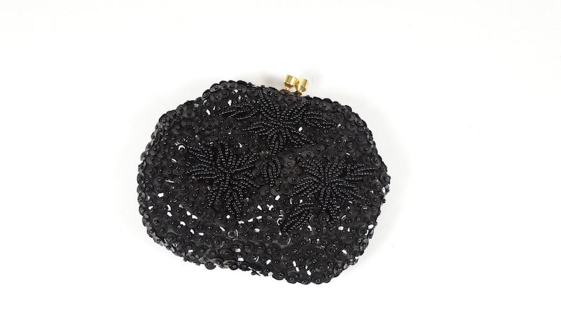 60s Vintage Black Embellished Change Purse Evening Bag Little Case Black Sequins