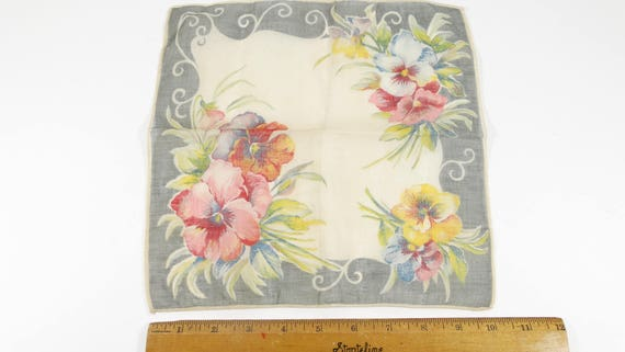 Vintage Handkerchieft Pansies 1940s Hankie Rememb… - image 2