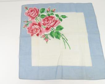 Vintage Handkerchief Roses Blue Background Floral Hankie Something Old Something Blue