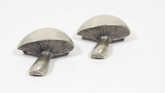 Pewter Mushroom Brooches - Set of 2 Vintage Mushr… - image 2