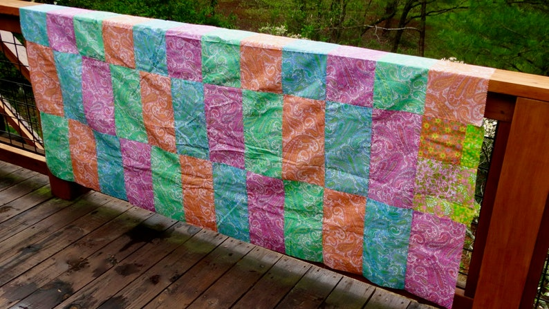 60s Full Queen Size Patchwork Paisley Quilt Top Mod Boho Maximalist