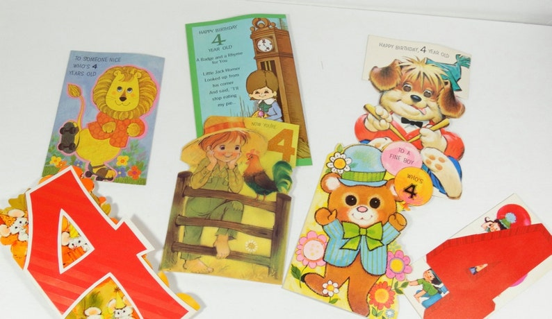 1970s Four Year Old Birthday Cards Lot Of 7 Signed 4