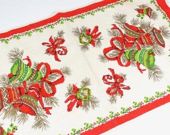 Christmas Tea Towel - Vintage Linen Kitchen Towel - Holiday Towel Christmas Jingle Bells and Holly Parisian Prints