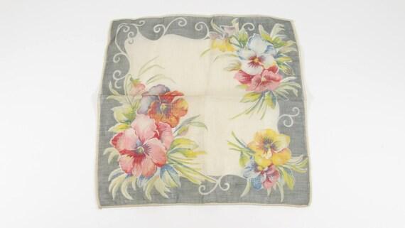Vintage Handkerchieft Pansies 1940s Hankie Rememb… - image 1