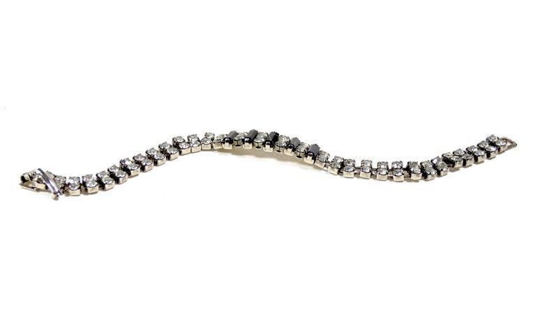 Vintage Rhinestone and Jet Bracelet Argentina Evita Something Old Midcentury Elegance Diva