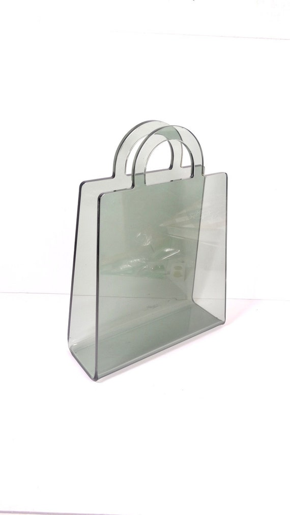 Vintage Lucite Magazine Rack Tote Magazine Holder Smoked Etsy Fascinating Lucite Magazine Holder