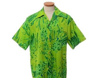 b6131a366cef 60s Mod Green Hawaiian Shirt mens size XL Vintage Casual Aire Aloha Tiki  Party Luau