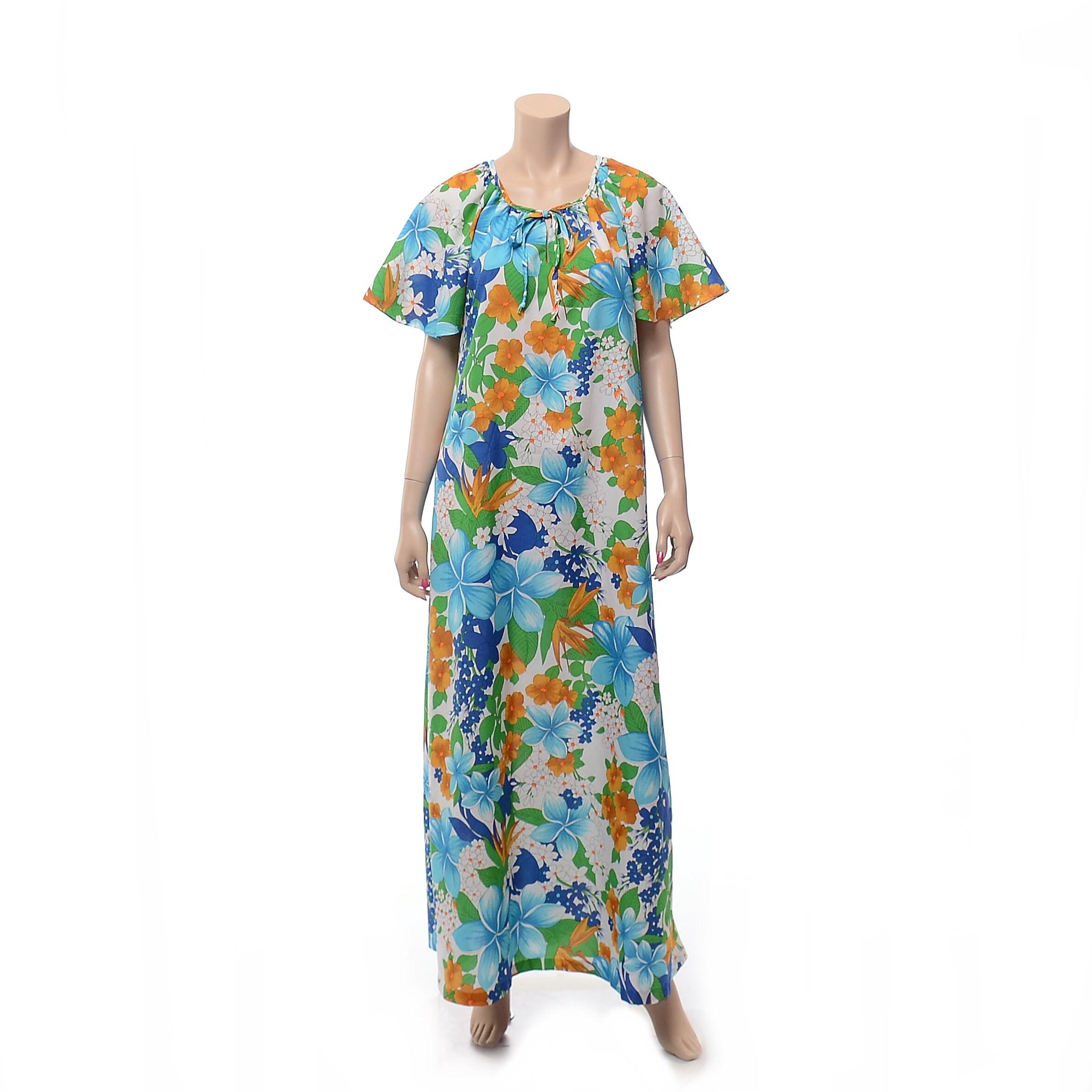 f227a39f Vintage 70s Pomare Hawaiian Maxi Dress 1970s Blue Green Floral   Etsy