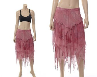Vintage Skirt, 70s Phool India Skirt, Pink Tie Dye Sheer Silk Skirt, 1970s Beaded Fringe Handkerchief Scarf Hem Boho Hippie Gypsy Skirt / M