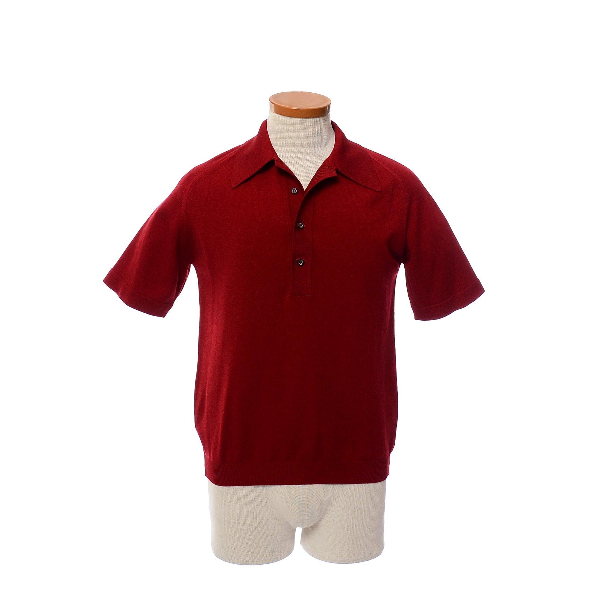 40cee3a32 60s Puritan Ban Lon Knit Polo Shirt Vintage Ansetta Burgundy