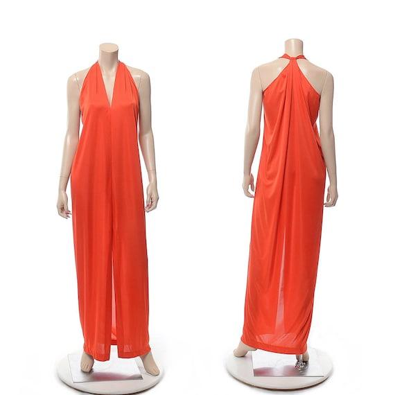 Vintage 70s Halston IV Grecian Halter Dress Qiana